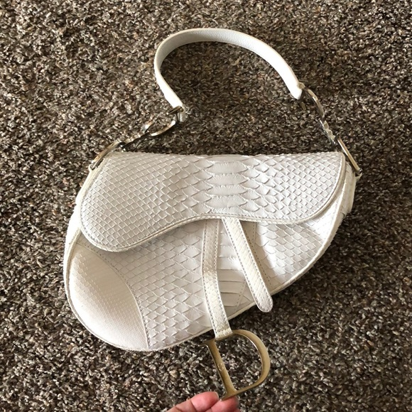 Dior Handbags - Dior limited edition white python saddle bag 6491af6a0bd4f